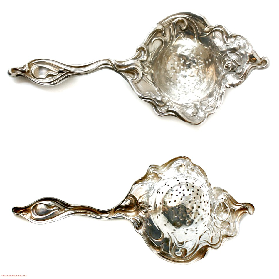 Art Nouveau Sterling Silver Over Cup Tea Strainer Rose
