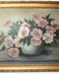 Antique Victorian Oil Painting Pink Floral Gilt Frame