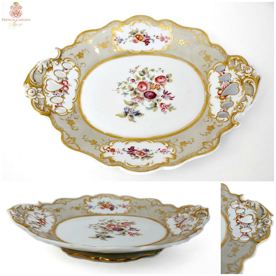 19th Century English Hand Painted Oval Footed Floral Compote