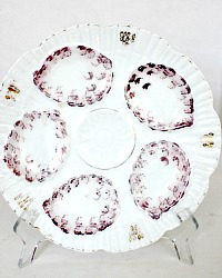 Antique German Austrian Pearl Oyster Plate 1870's Purple Marx & Gutherz