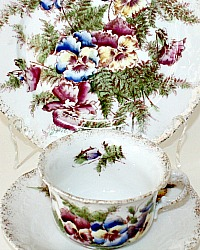 Antique 19th Century Hand Painted Porcelain Pansies Tea Cup Plate Set Trio