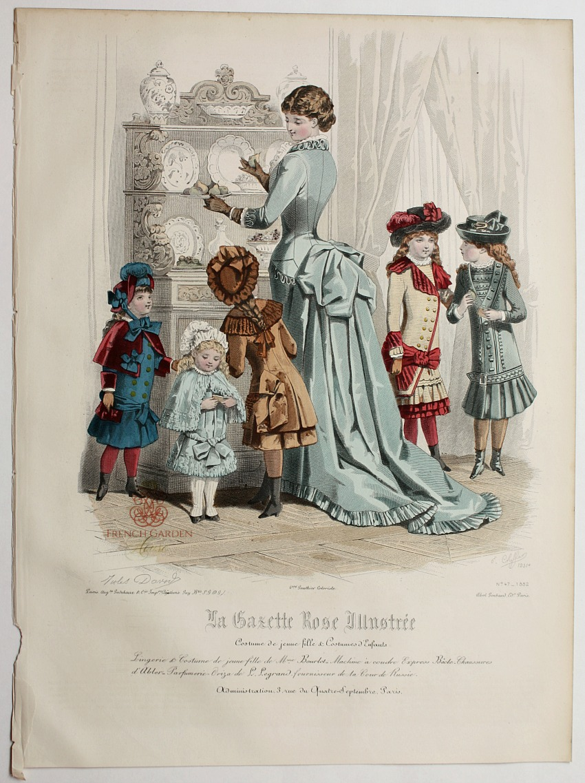 Antique French Hand Colored Fashion Print Lithograph Setting The Table