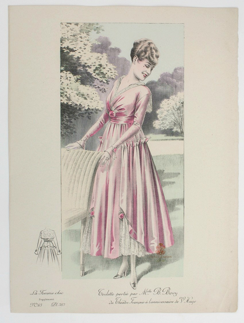 Antique French Belle Époque Fashion Print Hand Colored Pink Toilette