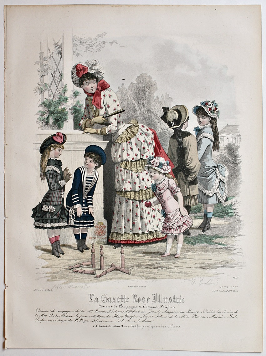 Antique French Hand Colored Fashion Print Lithograph Quilles