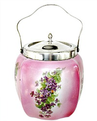 Antique Pink Biscuit Barrel Hand Painted Purple Violets Silver Mounted