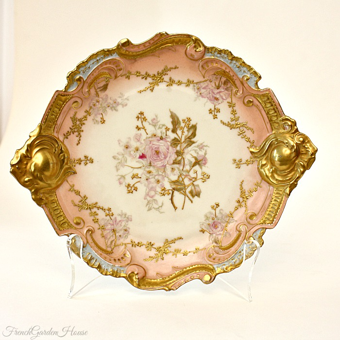Antique French Hand Painted Limoges Pink Rose Gilt Rococo