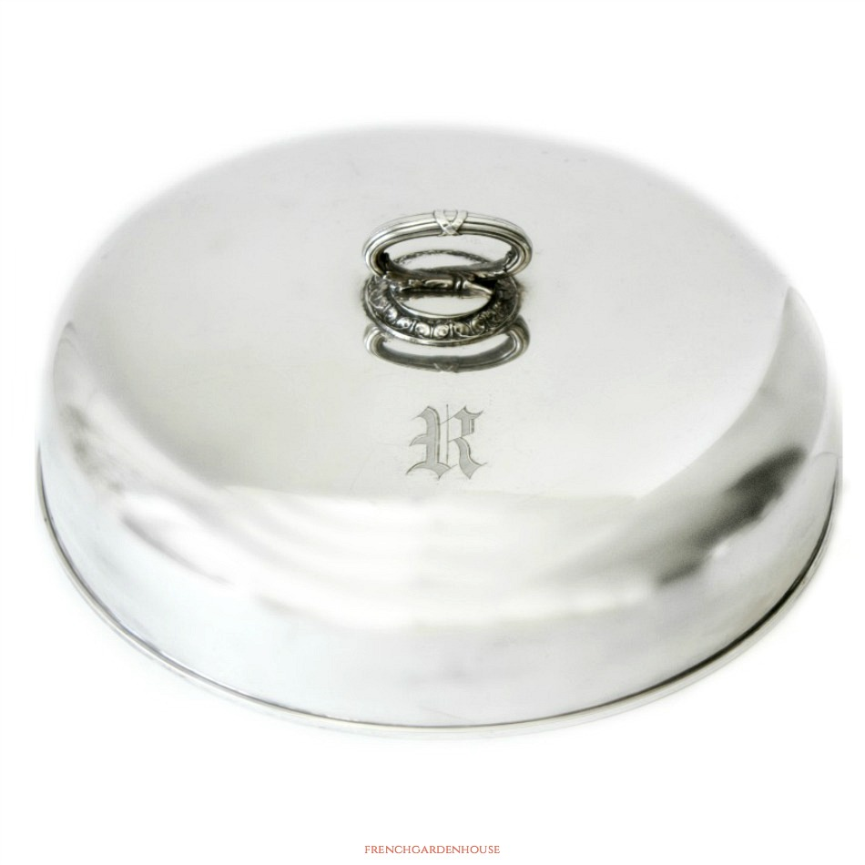 Antique Silver Food Dome or Plate Cover Monogram R