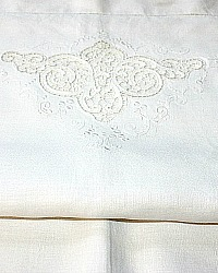 Antique Hand Embroidered Point de Venise Lace Linen Pillow Sham White