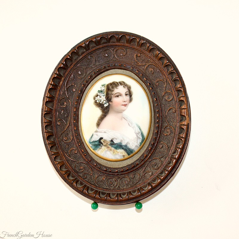19th Century Hand Painted Porcelain Miniature Portrait in Wood Frame