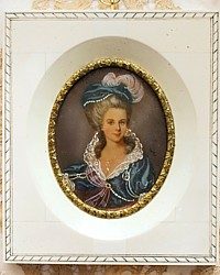Stunning Hand Painted Antique Miniature Portrait Young Noble Lady Gilt Detail Frame