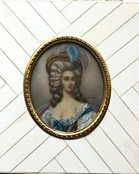 Antique Hand Painted Miniature Hand Painted Portrait French Noblewoman Framed