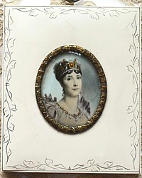 Antique Hand Painted Miniature Portrait Empress Josephine of France
