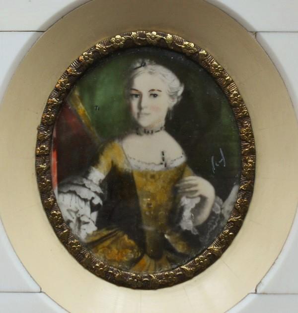 Antique Hand Painted French Miniature Portrait