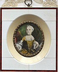 Antique Hand Painted French Miniature Portrait Framed Jaune Dame