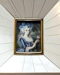Antique Hand Painted Miniature Portrait Frame Marie Antoinette