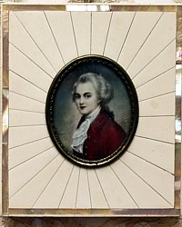 Antique Hand Painted Miniature Portrait Mother of Pearl Frame Mozart