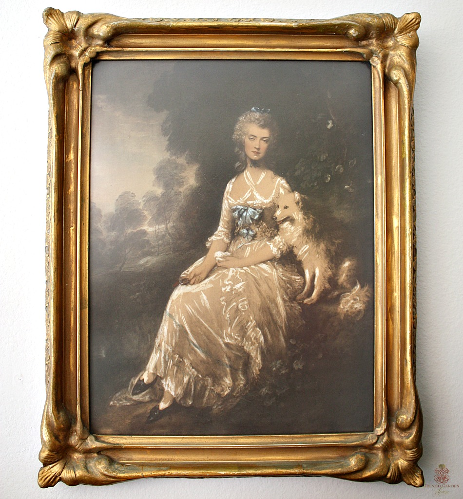 Hand Colored Lithograph Framed Print Portrait of a Lady and her Dog