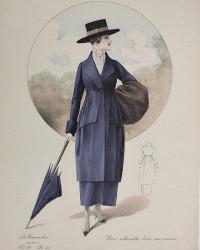 Antique French Hand Colored Fashion Print Purple Parisienne