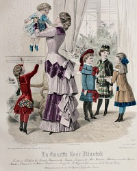 Antique French Hand Colored Fashion Print Lithograph Afternoon Tea