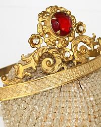 Antique 19th Century French Repousse Gilt Religious Tiara Ruby Red