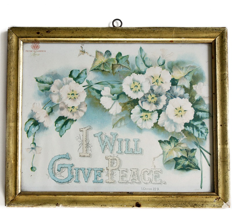 Antique Religious Scripture Floral Print Gilt Frame