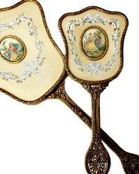 Hand Painted Gilt Filigree Vanity Mirror and Brush