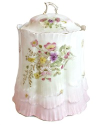 Antique Hand Painted Enameled Biscuit Jar Ruffled Pink