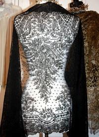 Antique French Finest Chantilly Black Silk Shawl
