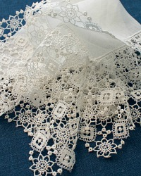 Antique White Linen Lawn Hand Made Lace Wedding Handkerchief