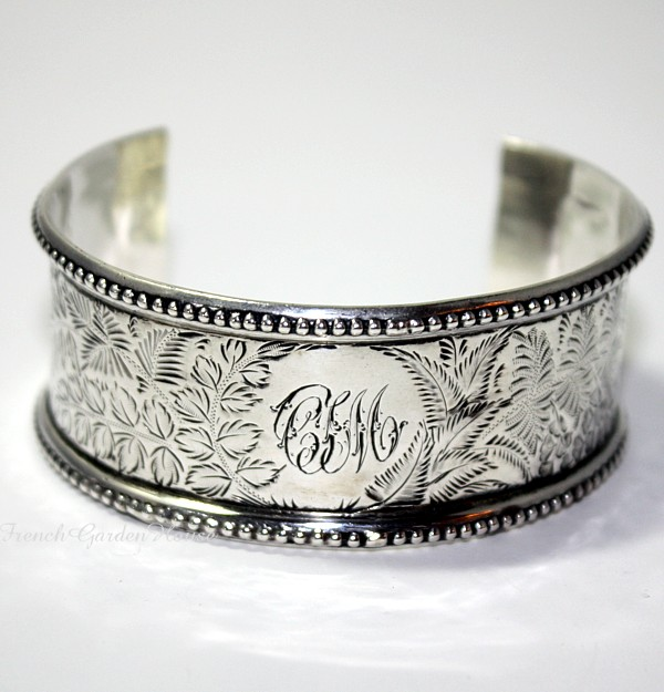 Antique 19th Century Sterling Silver Cuff Bracelet  C I M Monogram