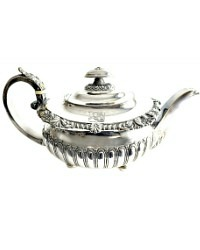 Early 19th Century Sterling Silver George III Teapot with Armorial Crest