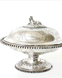 Antique Silver Plate Covered Dish Server Goat Figural Handle