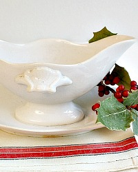 19th Century French Gien White Double Sided Sauciere