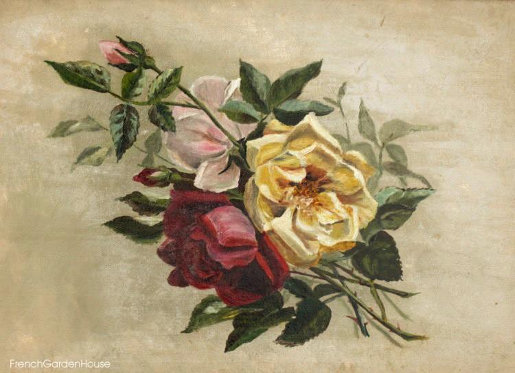 Antique Floral Oil Painting Roses Gilt Frame