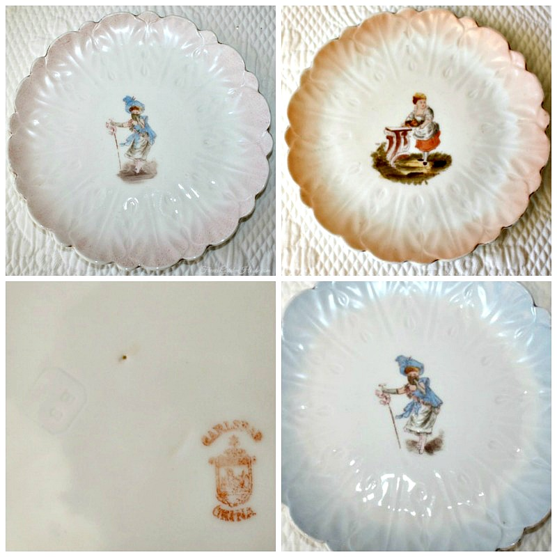 Antique Victorian Carlsbad Figural Blossom Petal Plate Set of 4