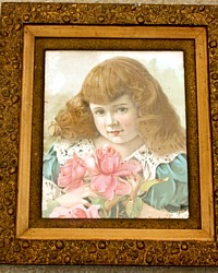 Antique Victorian Girl with Pink Rose Chromolithograph Print Gilt Wood Frame