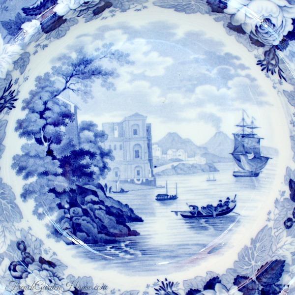 Antique Wedgwood Blue Landscape Transferware Bowl Rose Border