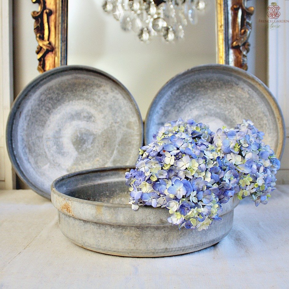 Antique Belgian Zinc Country Bowl