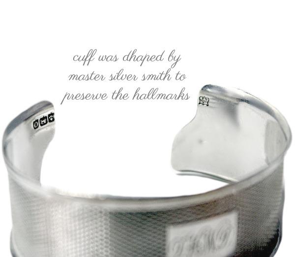 KDL Antique Sterling Silver Cuff Bracelet D H W D Monogram