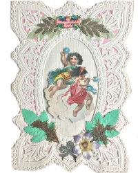 Antique Victorian Paper Lace Scrap Valentine with Cherubs