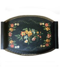 Antique English Hand Painted Floral Wood Toleware Tray