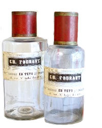 Antique French Apothecary Glass and Tole Bottle Set of 2 with Red Caps