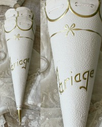 Antique French Wedding Favor Cornette Cone