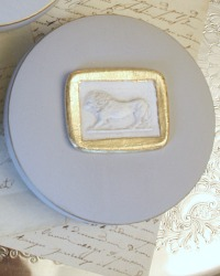 Artist Made Classic Plaster Relief Jewelry Box Grey