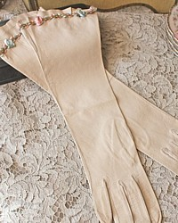 Antique French Kidskin Elbow Length Gloves Ribbonwork