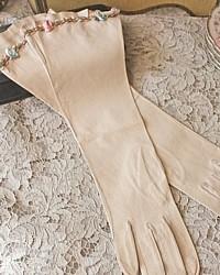 Antique French Kidskin Elbow Length Gloves Ribbonwork
