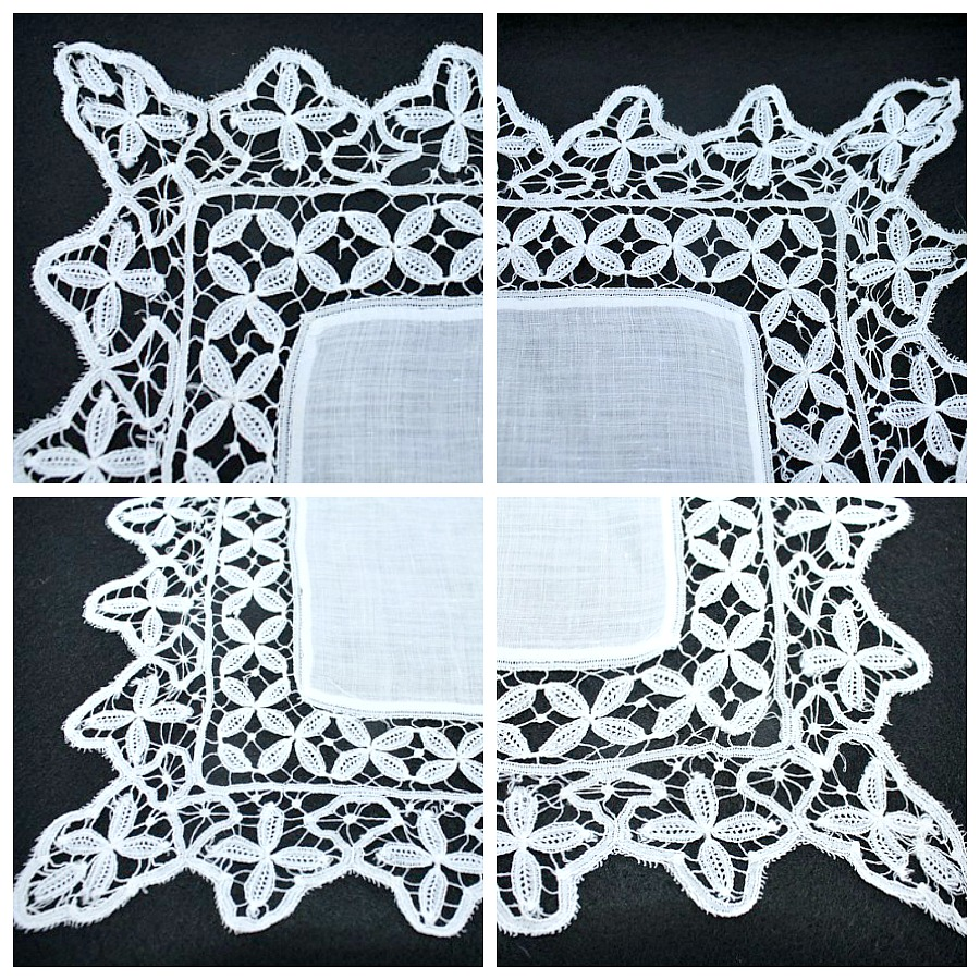 Antique Belgian Bobbin Lace Wedding Bridal Handkerchief Linen Lawn