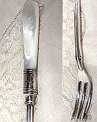 Antique Mother of Pearl Silver Pickle Fork