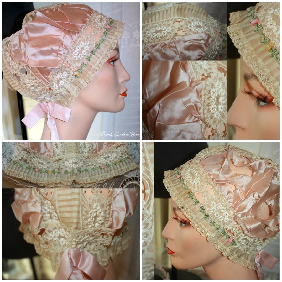 Rare Vintage French Lavender Silk Ribbonwork Estate Lace Boudoir Cap