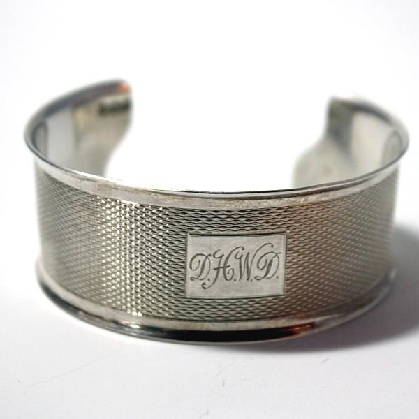 Antique Sterling Silver Cuff Bracelet D H W D Monogram
